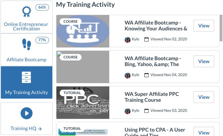 my training activity